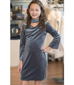 Cheryl Creations Tween L/S Choker Neck Velvet Dress Grey