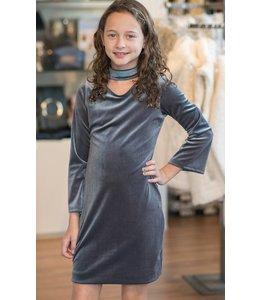 L/S Choker Neck Velvet Dress Grey