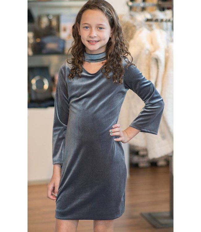 Cheryl Creations Tween L/S Choker Neck Velvet Dress Grey