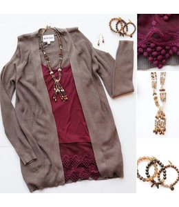 Olive & Oak Olive & Oak L/S Leo Sweater Stone