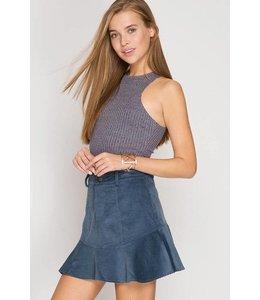 She + Sky Skirt W/ Peplum Dusty Blue