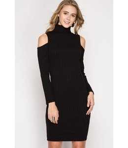 L/S Cold Shoulder Dress Black
