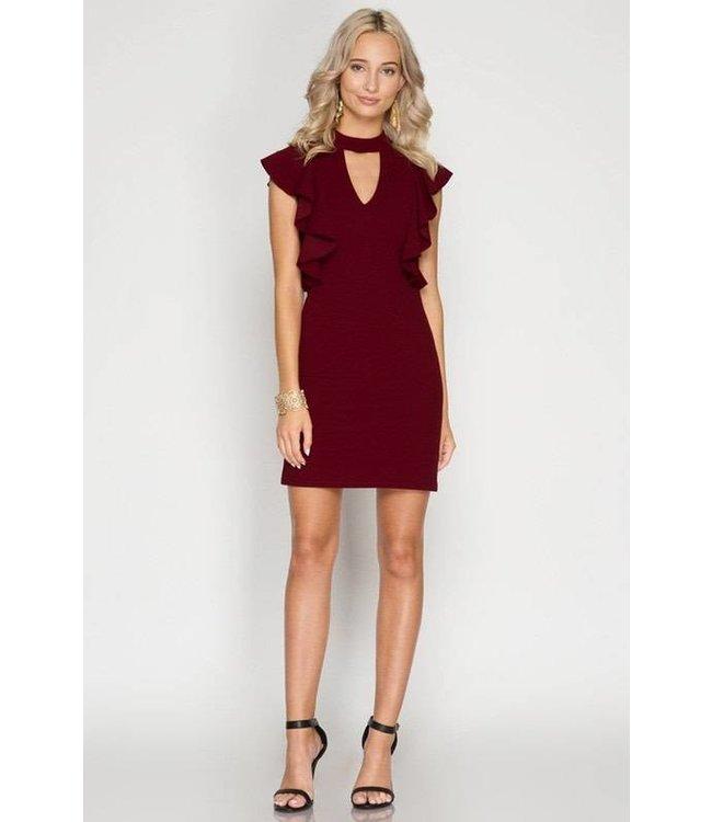 Ruffle Sleeve Key Hole Dress Wine