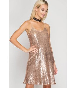 She + Sky Spaghetti Strap Dress Rose Gold