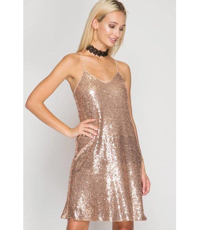 Spaghetti Strap Dress Rose Gold