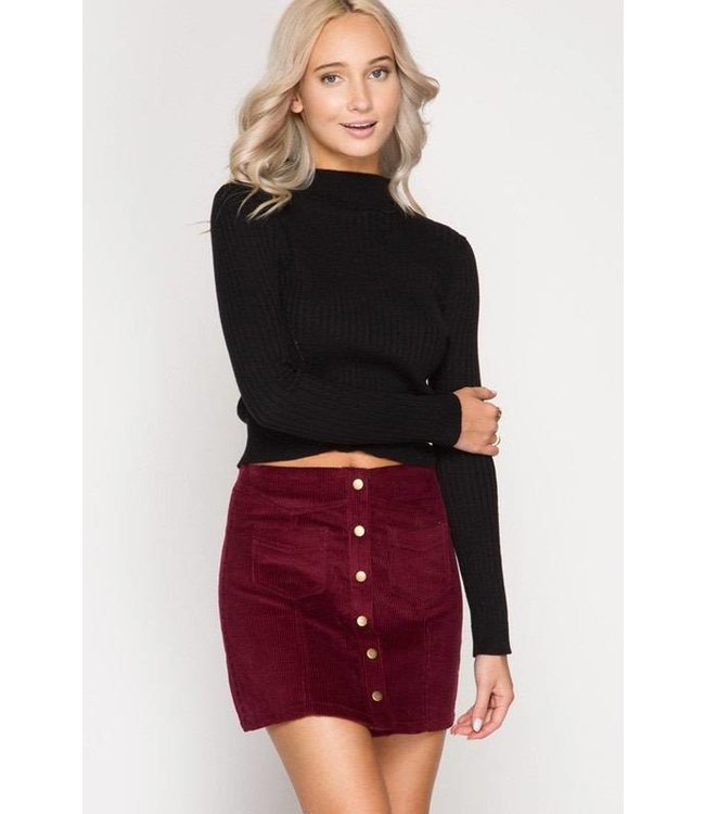Button Skirt Wine