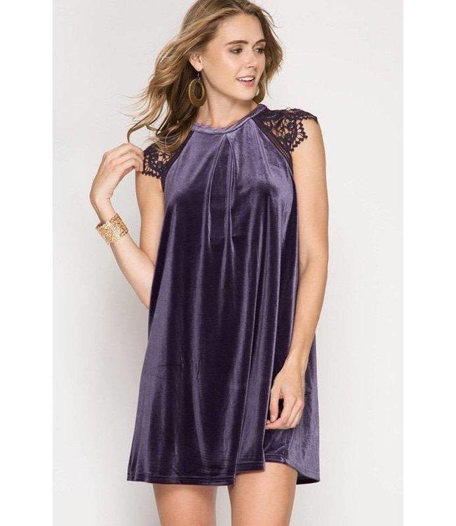 Crochet Velvet Dress Purple