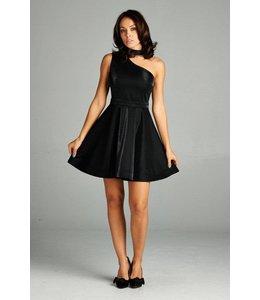 A. Peach One Shoulder Choker Dress Black