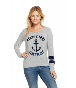 Chaser Women Chaser L/S Love Knit Seas The Day Pullover Grey
