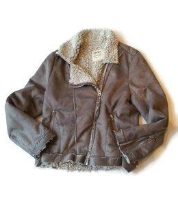 Dylan Frosty Tipped Bomber Jacket Grey/Ivory