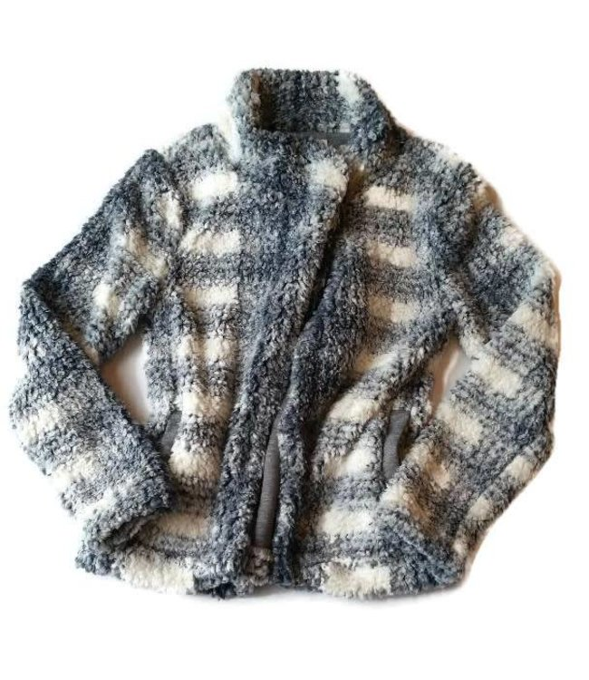 Dylan Plaid Frosty Tipped Cozy Jacket Charcoal