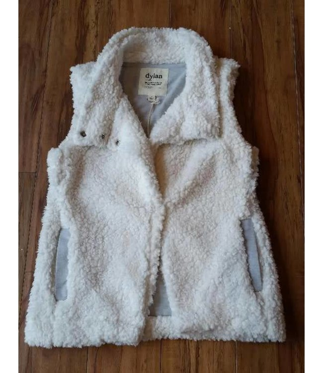 Dylan Solid Frosty Tipped Cozy Vest Ivory