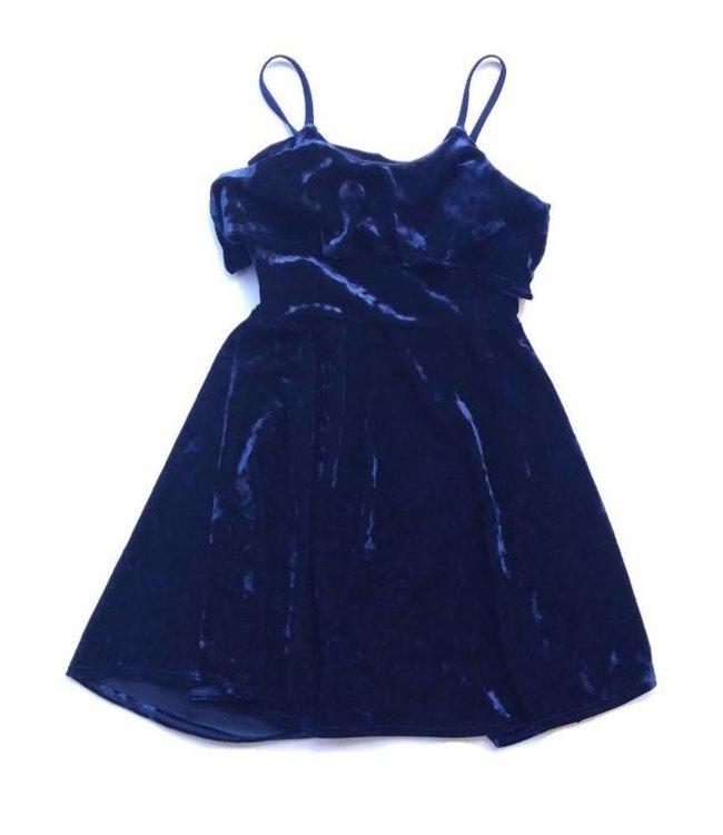 Cheryl Creations Tween Velvet Overlay Dress Navy