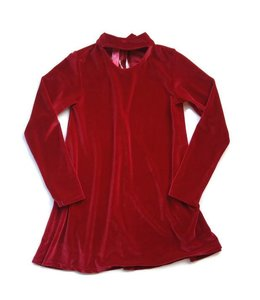 Stella Industries L/S Velvet Keyhole Dress Ruby