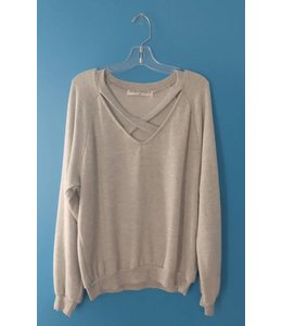 Project Social T L/S Cross Front Cozy V-Neck Heather Grey