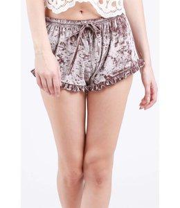 Velvet Shorts  W/ Ruffle Trim Mocha