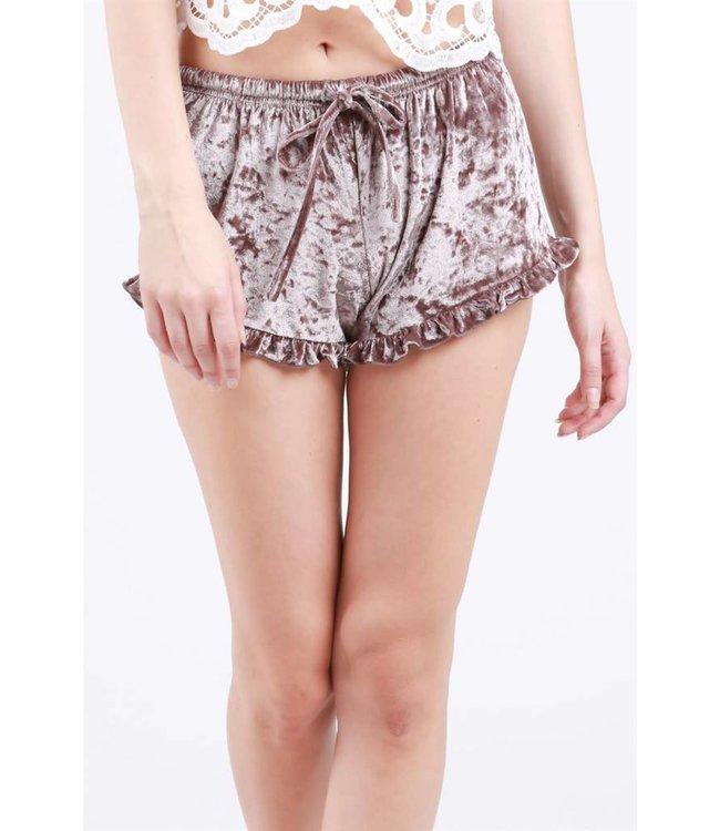 POL Clothing Velvet Shorts  W/ Ruffle Trim Mocha