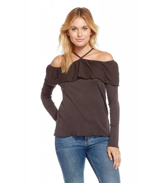 Chaser L/S Baby Rib Ruffle Cold Shoulder Shirt Black