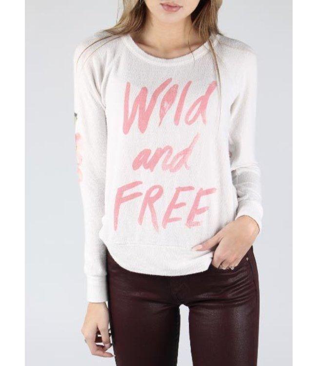 Chaser L/S Love Knit Wild & Free Pullover Cream/Multi