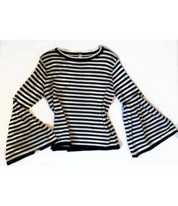 Mad Style L/S Stripe Flute Sleeve Crewneck Shirt Black/White