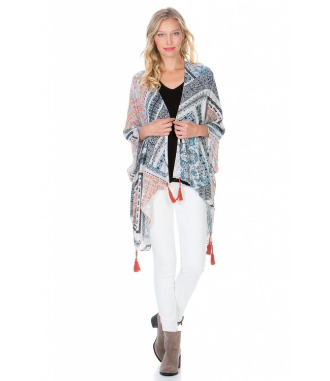 PC Border Print Kimono W/Tassels Grey/Multi