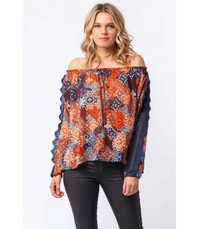 PC L/S Off Shoulder Drawstring Shirt Rust/Multi