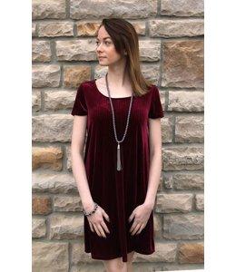 Velvet Cross Back Dress Wine