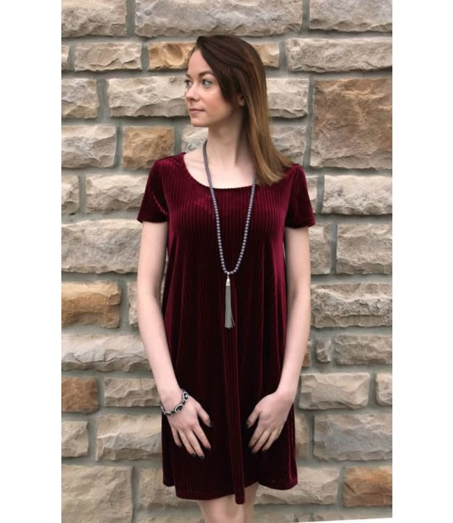 Velvet Cross Back Dress Wine