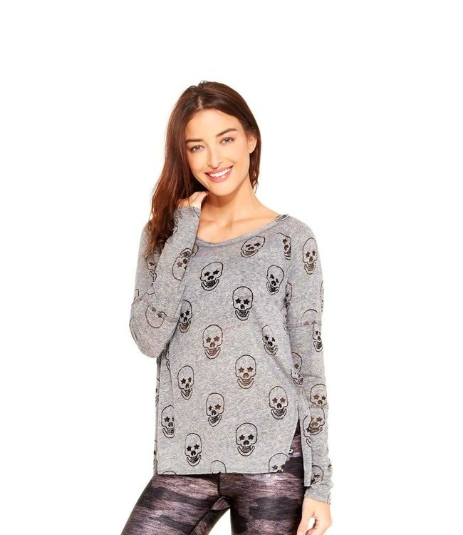 Zara Terez Women Terez L/S Skull Burnout Shirt Grey