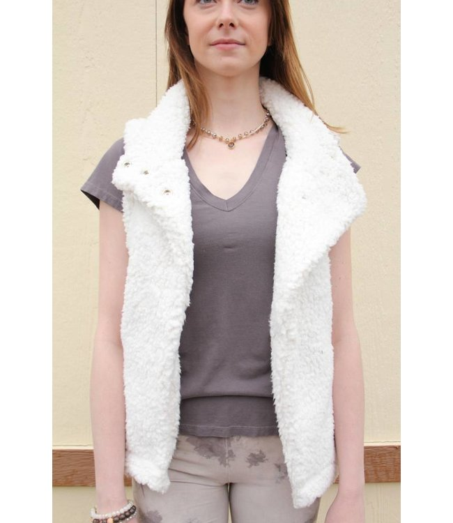 Solid Frosty Tipped Cozy Vest Ivory