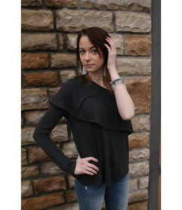 Mickey And Jenny Mickey And Jenny Off Shoulder Top Charcoal