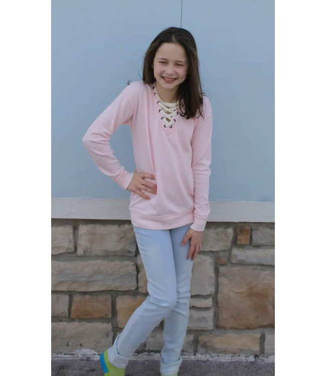Vintage Havana Tweens Vintage Havana Burnout Lace Up Sweatshirt Pink