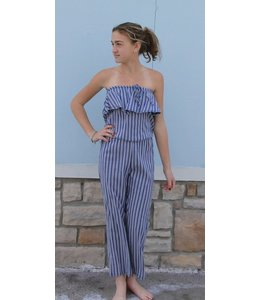 Pinc Premium Pinc Premium Striped Halter Jumpsuit Denim/White