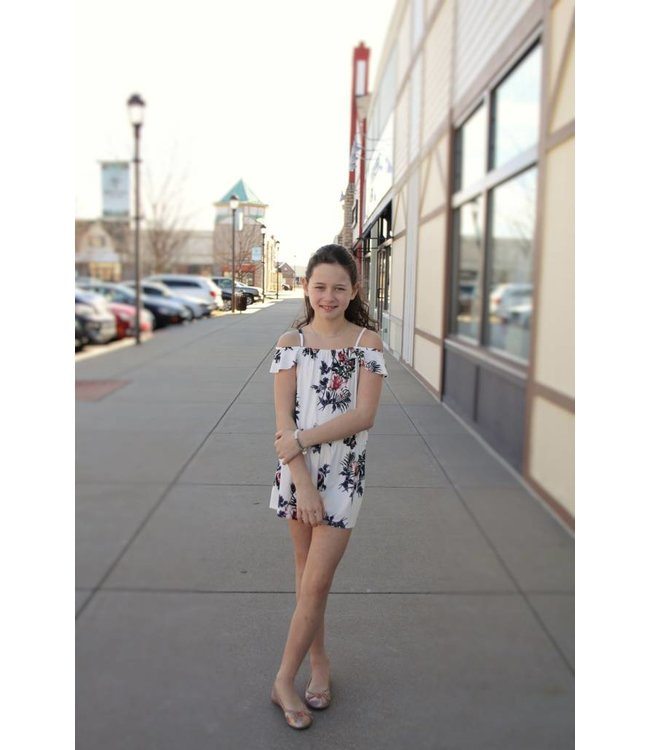 Printed Off Shoulder Romper White/Multi