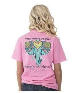 Simply Southern Simply Southern Preppy Sparkle Shirt Flamingo