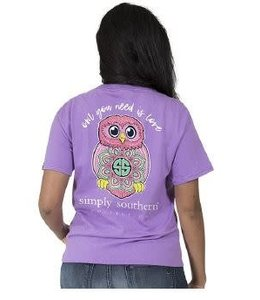 Simply Southern Simply Southern Preppy Owl Shirt Eggplant