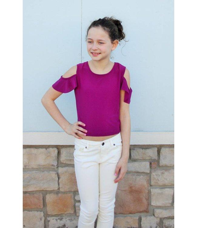 Cheryl Creations Tween Cold Shoulder Blouse W/Ruffle