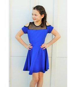 Cheryl Creations Tween Mesh Cold Shoulder Dress Royal Blue/Black