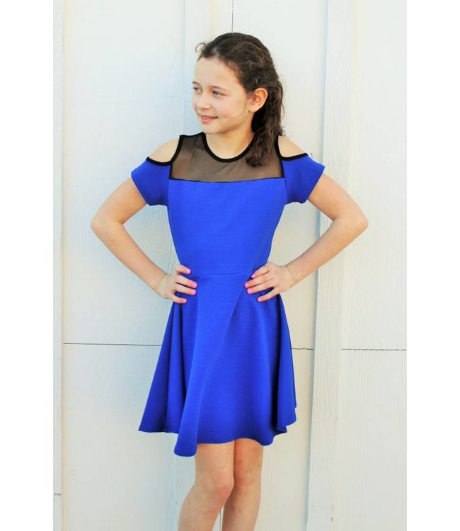 Mesh Cold Shoulder Dress Royal Blue/Black