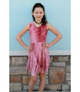 Cheryl Creations Tween Bodre Tie Dye Dress Pink/White