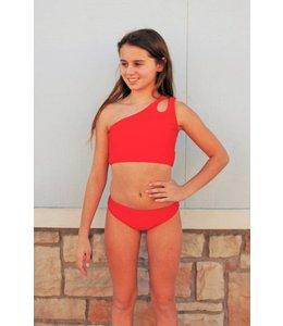 Cheryl Creations Tween One Shoulder Bikini Red