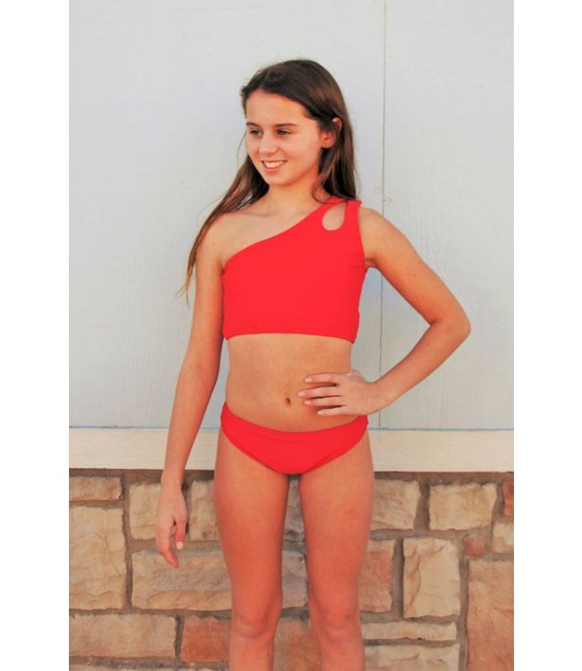 One Shoulder Bikini Red