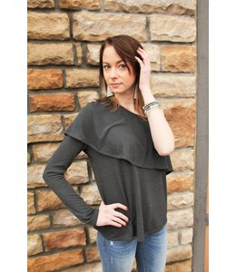 Mickey And Jenny Off Shoulder Top Charcoal