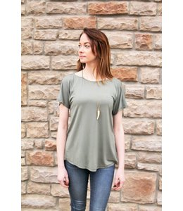 PC Back Cut Out Top W/ Neck Straps Olive