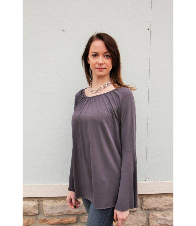 Olive & Oak Bell Sleeve Shirt Charcoal
