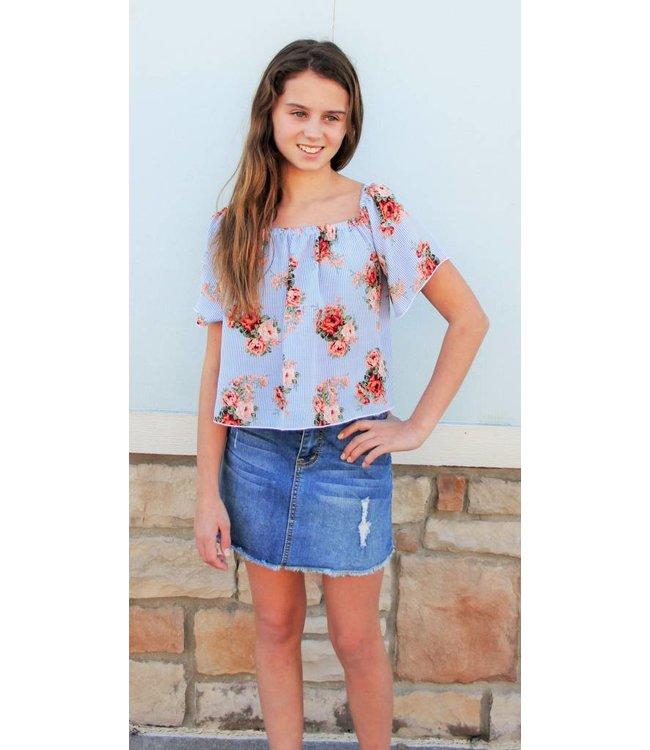 Cheryl Creations Tween Floral Stripe Off Shoulder Top Blue/White
