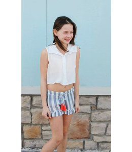 Vintage Havana Tweens Vintage Havana Striped Ruffle Shorts Navy/White