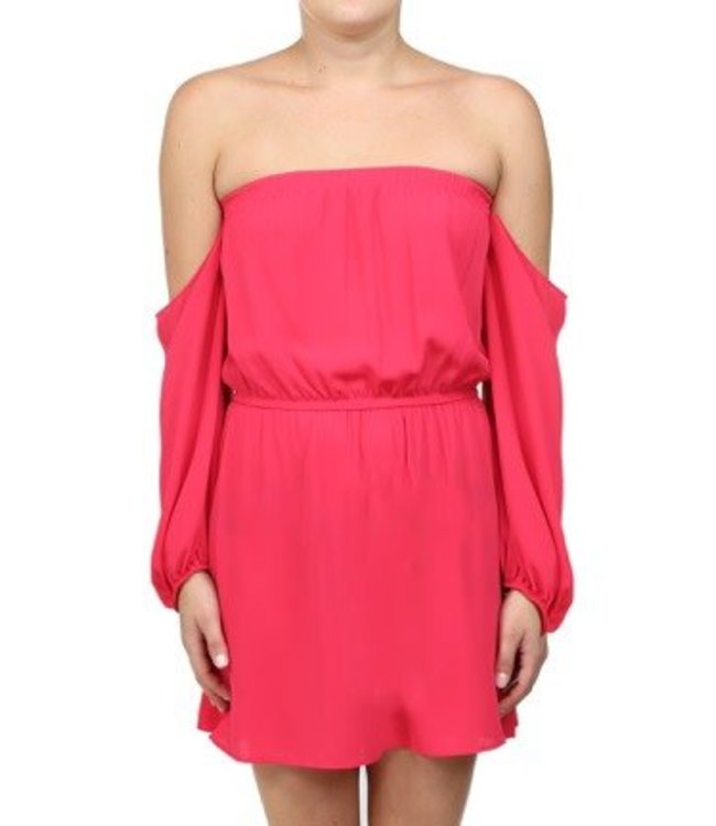 L/S Off Shoulder Mini Dress Fushia
