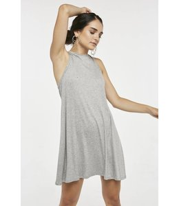 High Neck Flare Dress Grey