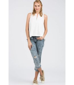 Distressed Zipper Tank Ivory